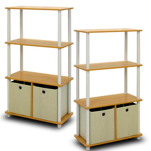 Furinno Go Green Beech 4-Shelf Open Bookcase with Bins (2-Pack)