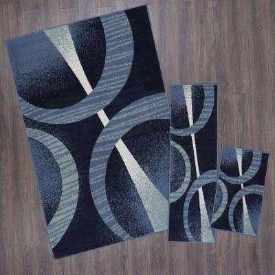 Ariana Navy Blue 5 ft. x 7 ft. 3-Piece Rug Set