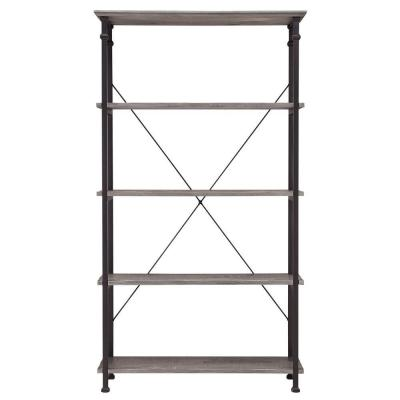 72 in. Weathered Gray Metal 4-shelf Etagere Bookcase with Open Back