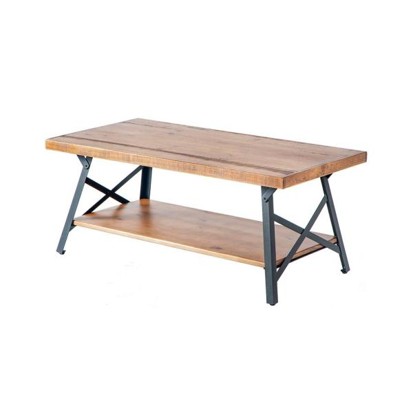 Harper & Bright Designs Brown Solid Wood Coffee Table with Metal