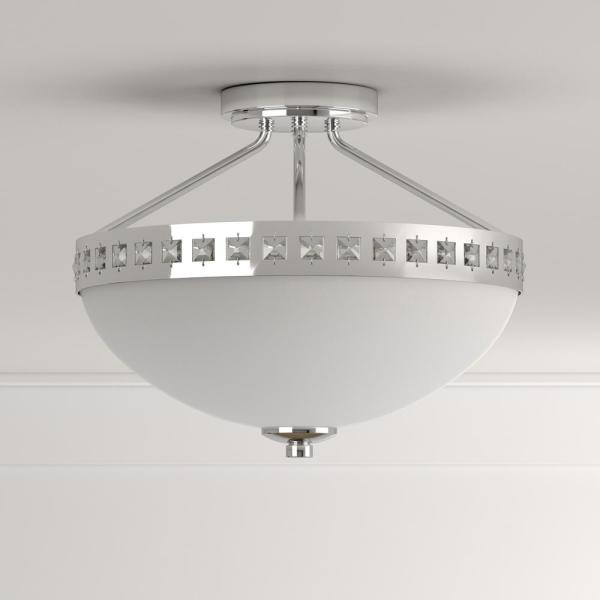 Hampton Bay 13 6 In 2 Light Polished Chrome Semi Flush Mount With Frosted Glass Shade S352ch02 The Home Depot