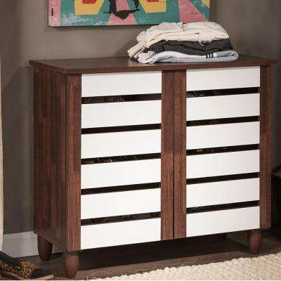 Gisela White and Medium Brown Wood Storage Cabinet