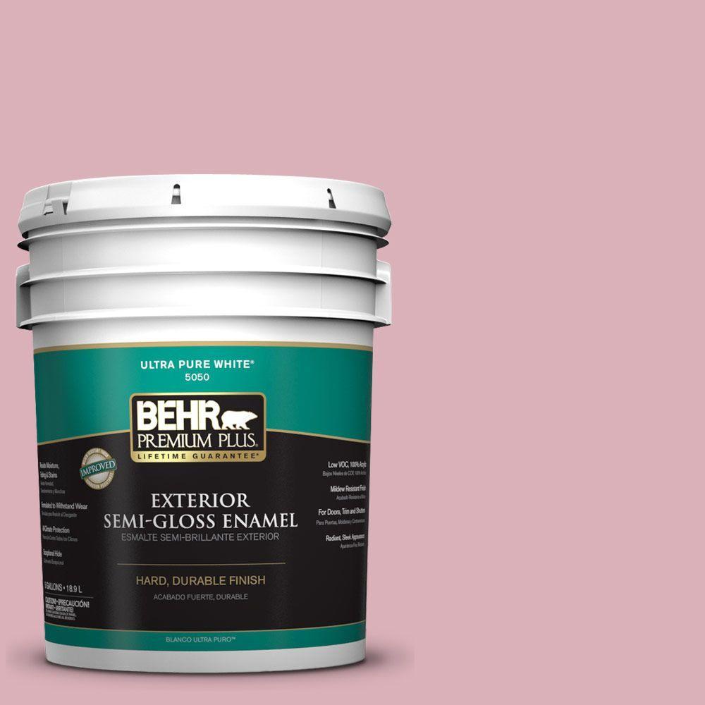 BEHR Premium Plus 5-gal. #ICC-54 Peony Semi-Gloss Enamel Exterior Paint