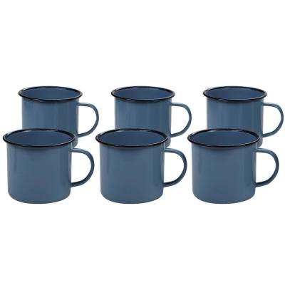 Enamelware 6-Piece Teal 26 oz. Mug Set