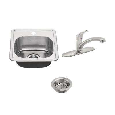 Colony ADA All-in-One Drop-In Stainless Steel 15 in. 1-Hole Single Bowl Kitchen Sink with faucet in Stainless Steel
