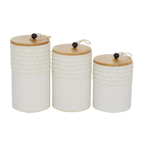 White Textured Stoneware Canister with Wood Lid And Beaded Handle (Set of 3): 6.75 in., 8.5 in., 9.25 in.