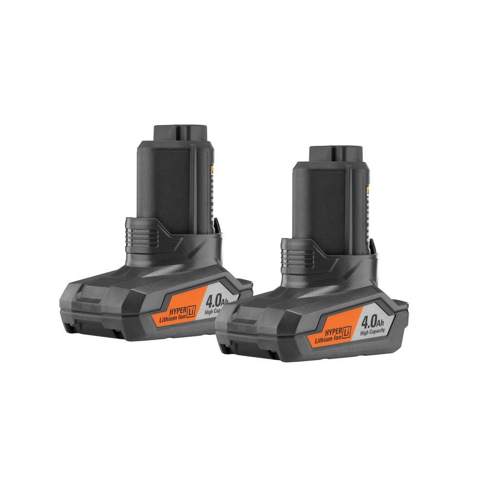 RIDGID 12-Volt 4.0Ah Hyper Lithium-Ion Battery (2-Pack)