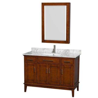 Hatton 48 in. Vanity in Light Chestnut with Marble Vanity Top in Carrara White, Square Sink and Medicine Cabinet