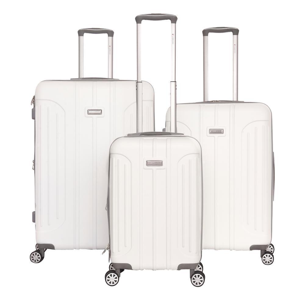 Viva 3-Piece White Hardside Upright Spinner Luggage Set