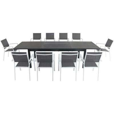 Bryn 11-Piece Aluminum Outdoor Dining Set with 10 Sling Chairs and an Expandable 40 in. x 118 in. Table