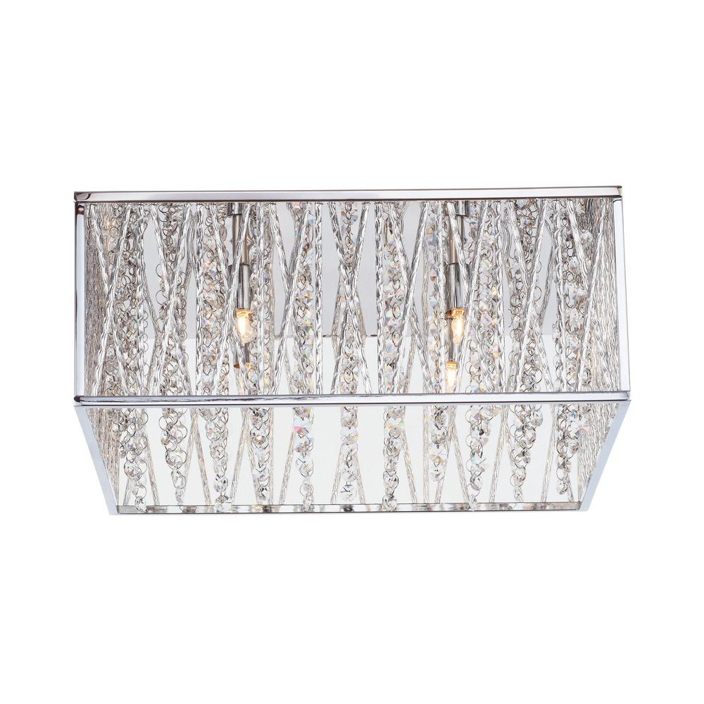 uk availability 79ae9 280c9 Home Decorators Collection Saynsberry 16 in. 4-Light Chrome Square Flush  Mount with Glass Beads