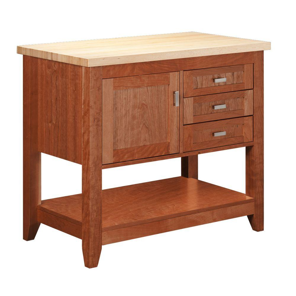 Strasser Woodenworks Tuscany 42 in. Kitchen Island in Cinnamon Cherry with Maple Top