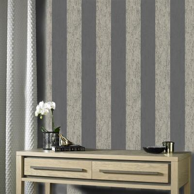 Mercury Stripe Black/Gold Wallpaper Sample