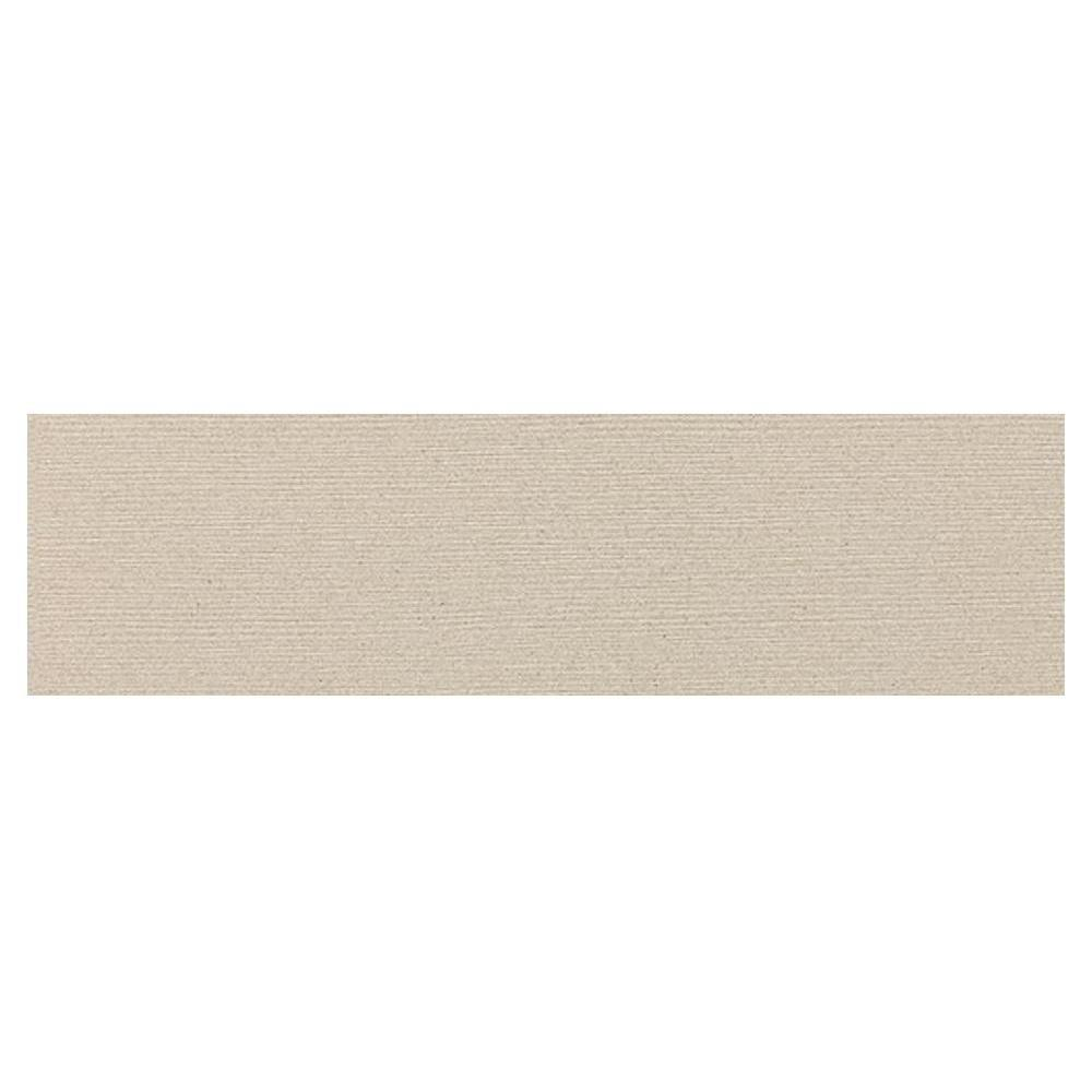 Daltile Identity Bistro Cream Grooved 4 in. x 24 in. Polished Porcelain Bullnose Floor and Wall Tile