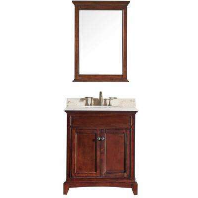 Elite Stamford 30 in. W x 23.5 in. D x 36 in. H Vanity in Brown with Carrera Marble Top in White with White Basin