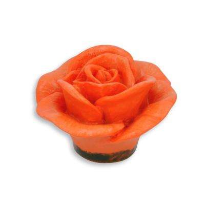 Flowers 1.95 in. Orange Rose Drawer Knob