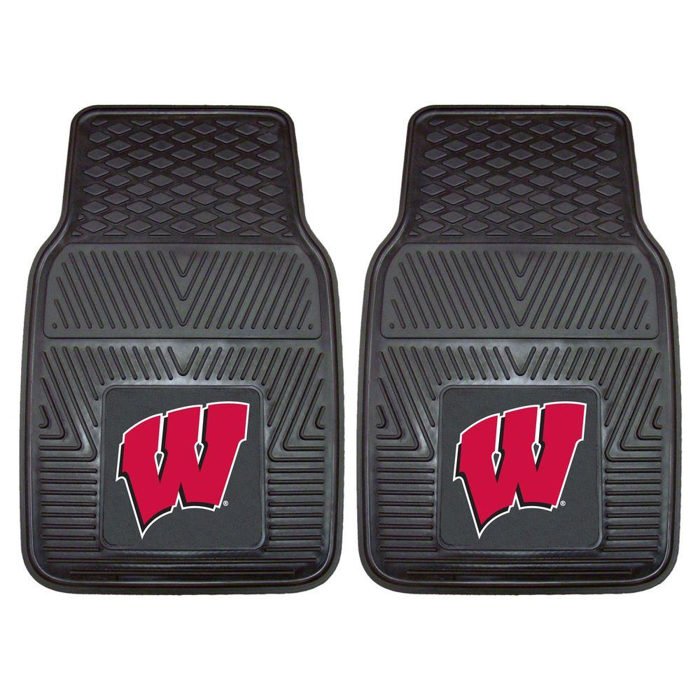 FANMATS University of Wisconsin 18 in. x 27 in. 2-Piece Heavy Duty Vinyl Car Mat