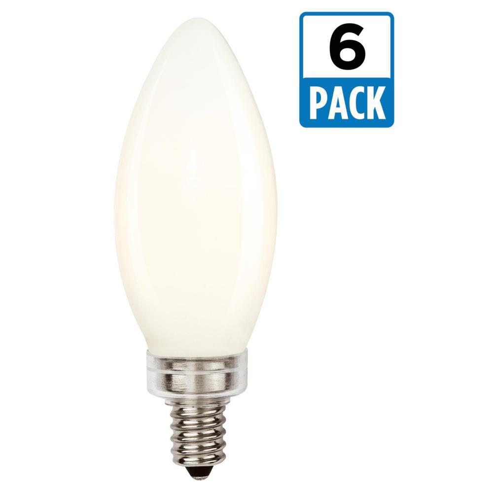 25W Equivalent Soft White B11 Dimmable Filament LED Light Bulb (6-Pack)