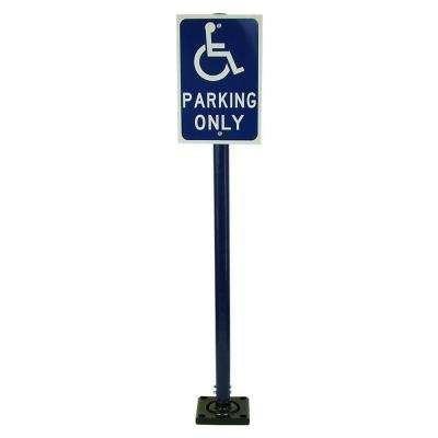 12 in. x 18 in. Handicap Parking Sign on Blue Post with Base and Bolt-Down Plate