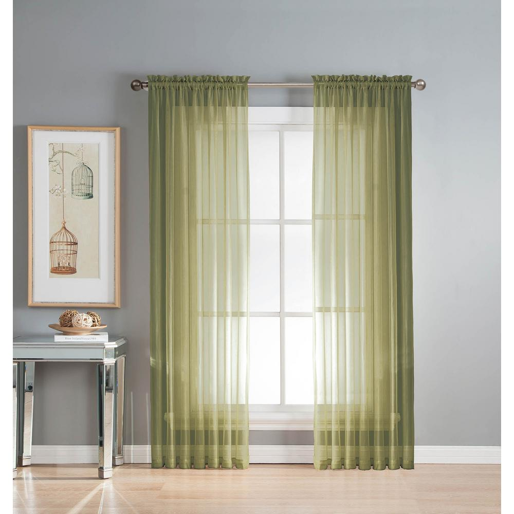 Window Elements Sheer Sage Solid Voile Extra-Wide Sheer Rod Pocket Curtain Panel 54 in. W x 63 in. L