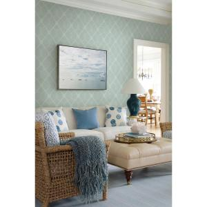 Chesapeake Tradewinds Aqua Trellis Wallpaper by Chesapeake