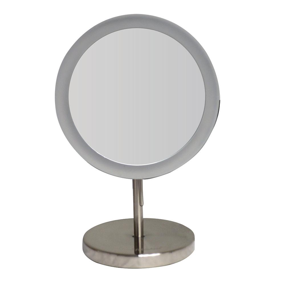Whitehaus Collection Round 8 In X 12 1 2 Freestanding Framed Led Makeup Mirror Brushed Nickel With 5x Magnification