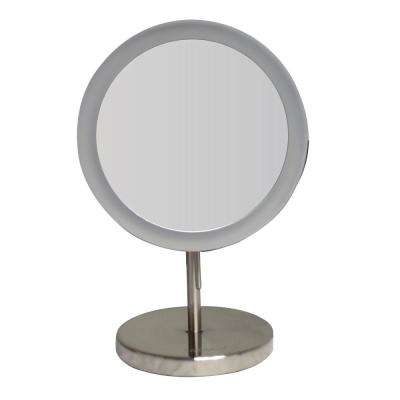 Round 8 in. x 12-1/2 in. Freestanding Framed Freestanding  LED  Mirror in Brushed Nickel with 5X Magnification