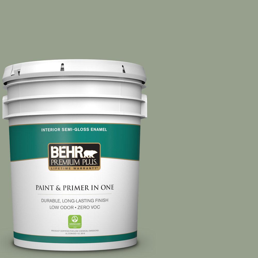 5-gal. #N390-4 Bitter Sage Semi-Gloss Enamel Interior Paint