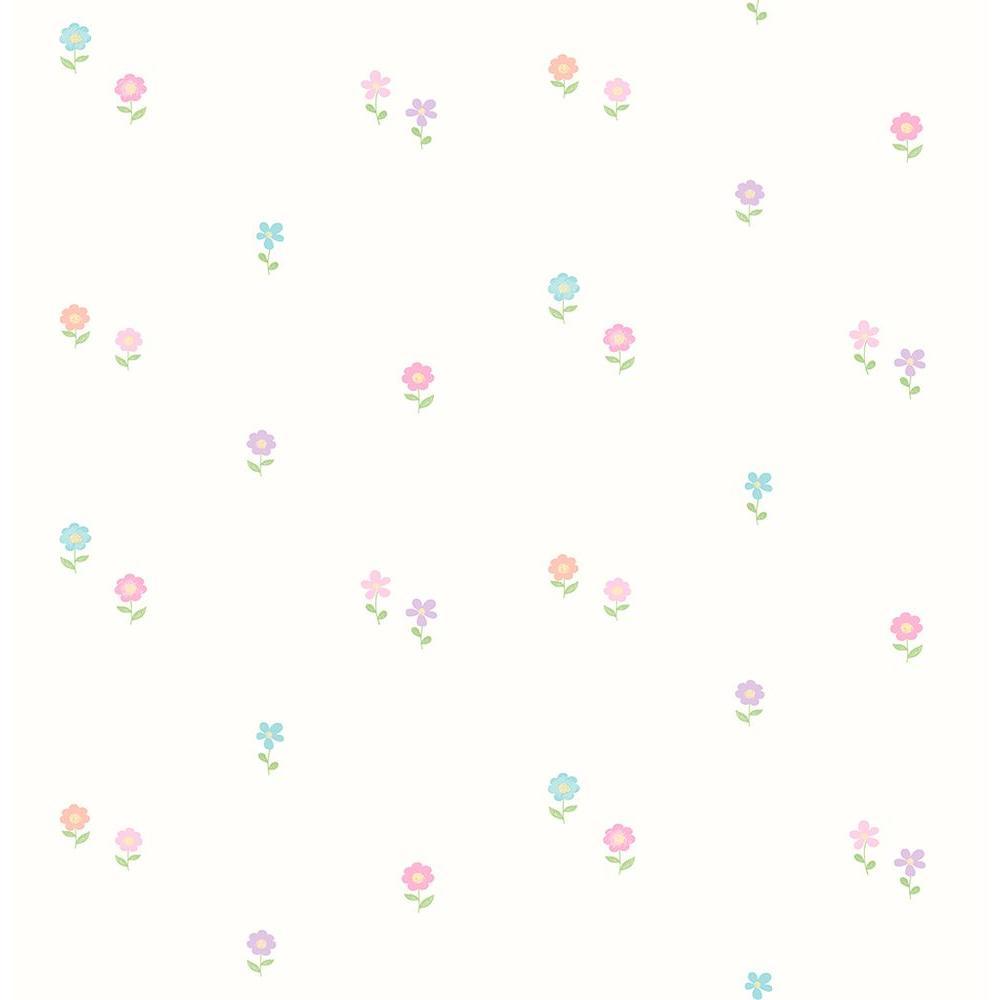 Turquoise Happy Street Flowers Wallpaper Sample