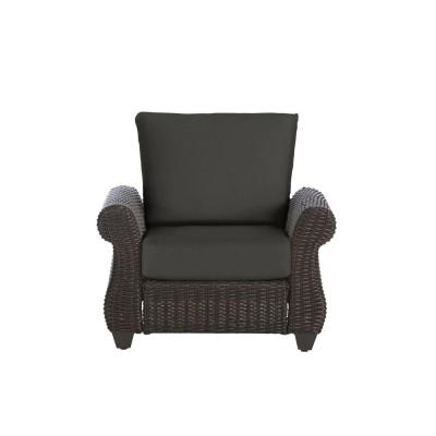 Mill Valley Brown Wicker Outdoor Patio Lounge Chair with CushionGuard Graphite Dark Gray Cushions