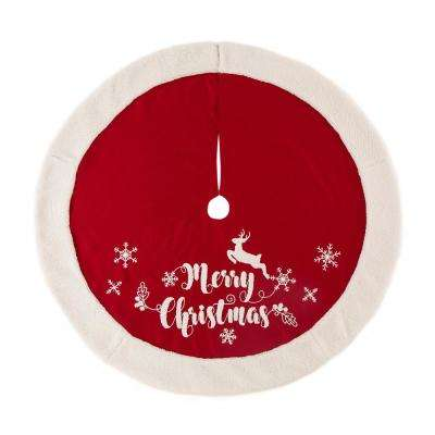48 in. D Fabric Christmas Tree Skirt in Merry Christmas
