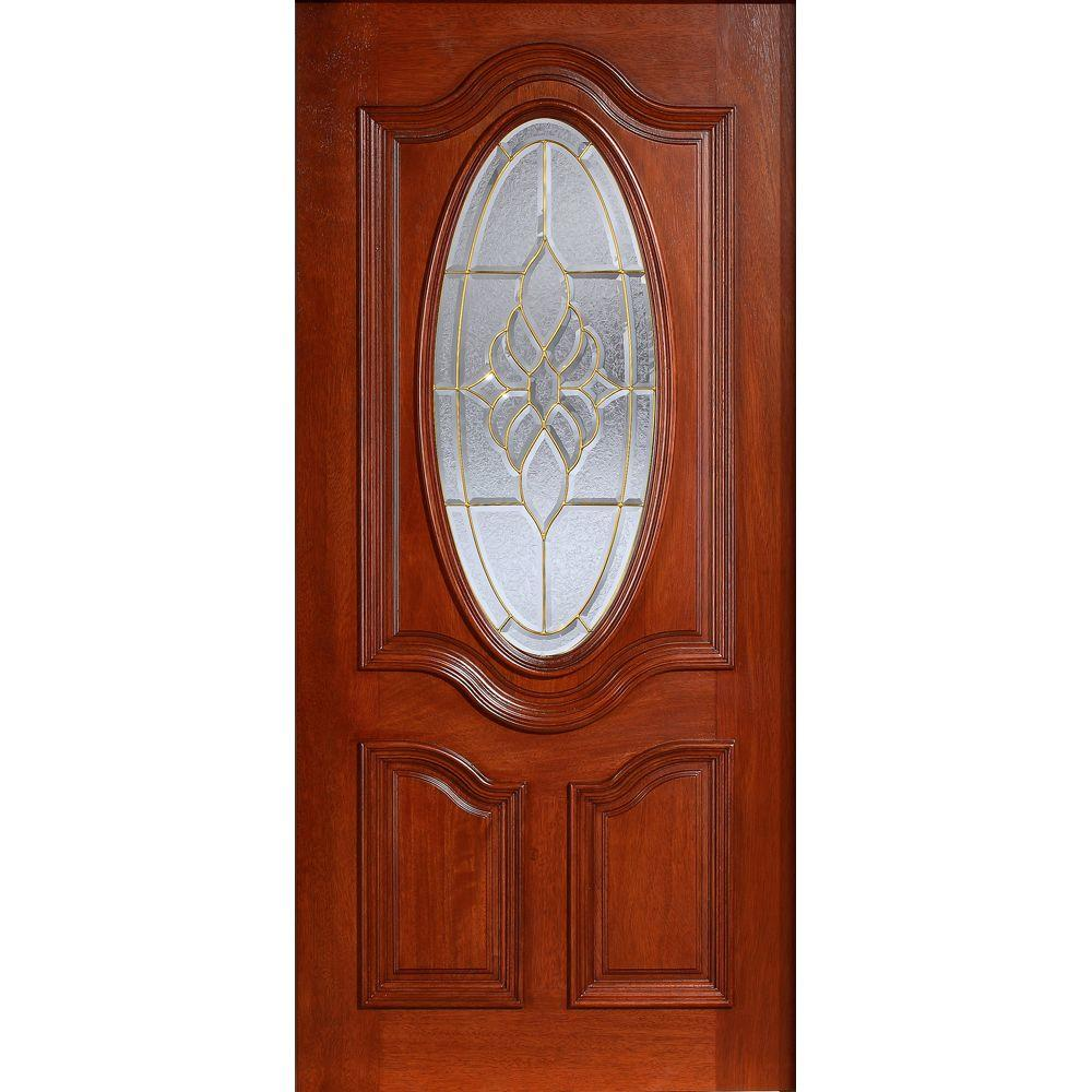 Main Door 36 in. x 80 in. Mahogany Type Prefinished Cherry Beveled Brass 3/4 Oval Glass Solid Stained Wood Front Door Slab