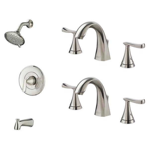 Chatfield Single-Handle 3-Spray Tub and Shower Faucet and Two 8 in. Widespread Bathroom Faucet Set in Brushed Nickel