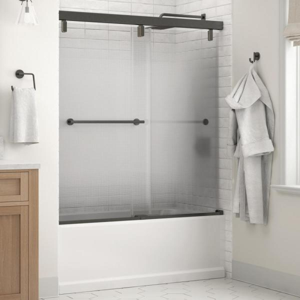 Everly 60 in. x 59-1/4 in. Mod Semi-Frameless Sliding Bathtub Door in Bronze and 1/4 in. (6mm) Droplet Glass