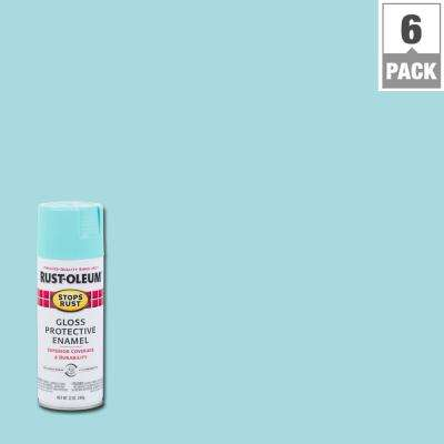 12 oz. Protective Enamel Gloss Light Turquoise Spray Paint (6-Pack)