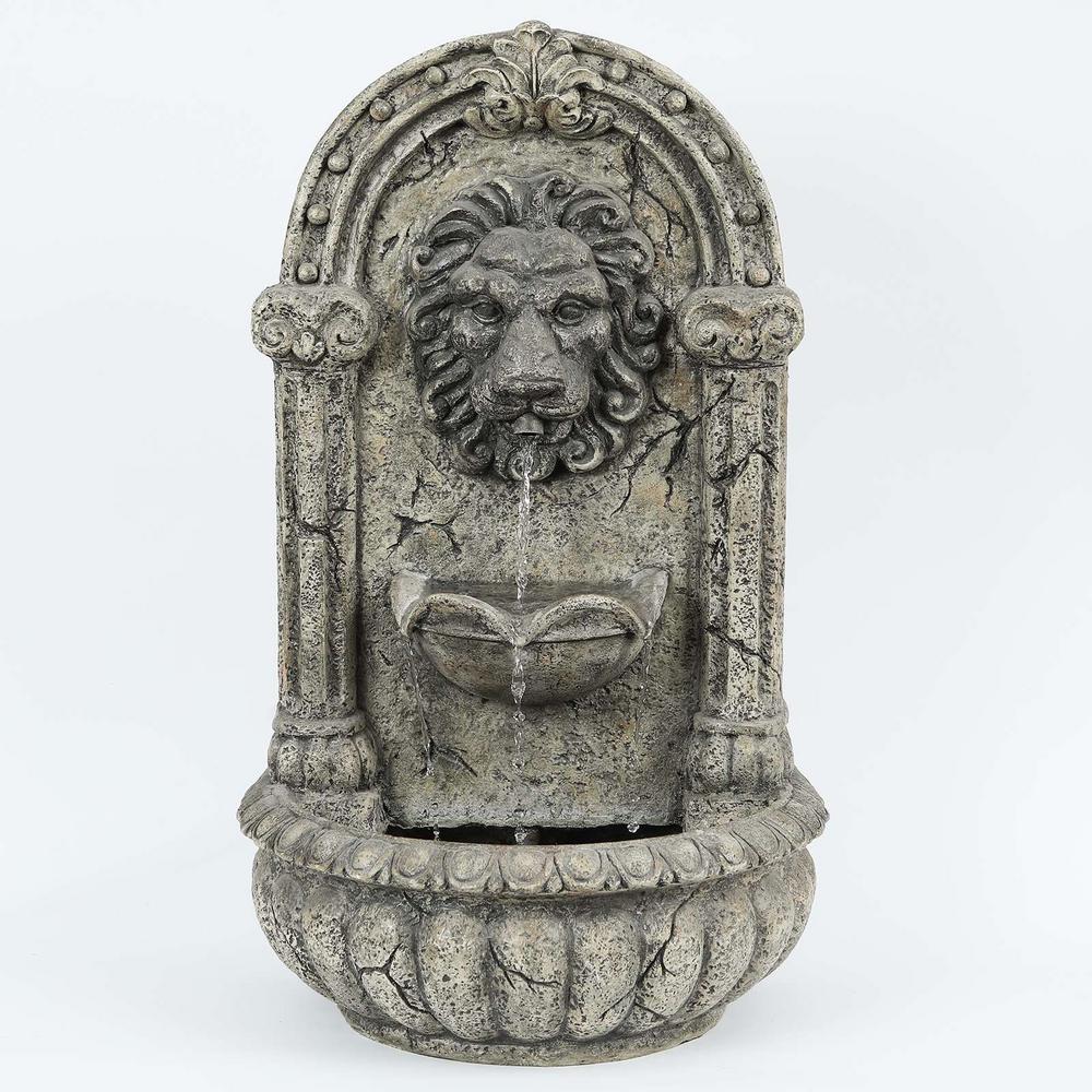 Polyresin Majestic Lion Outdoor Wall Cascade Fountain