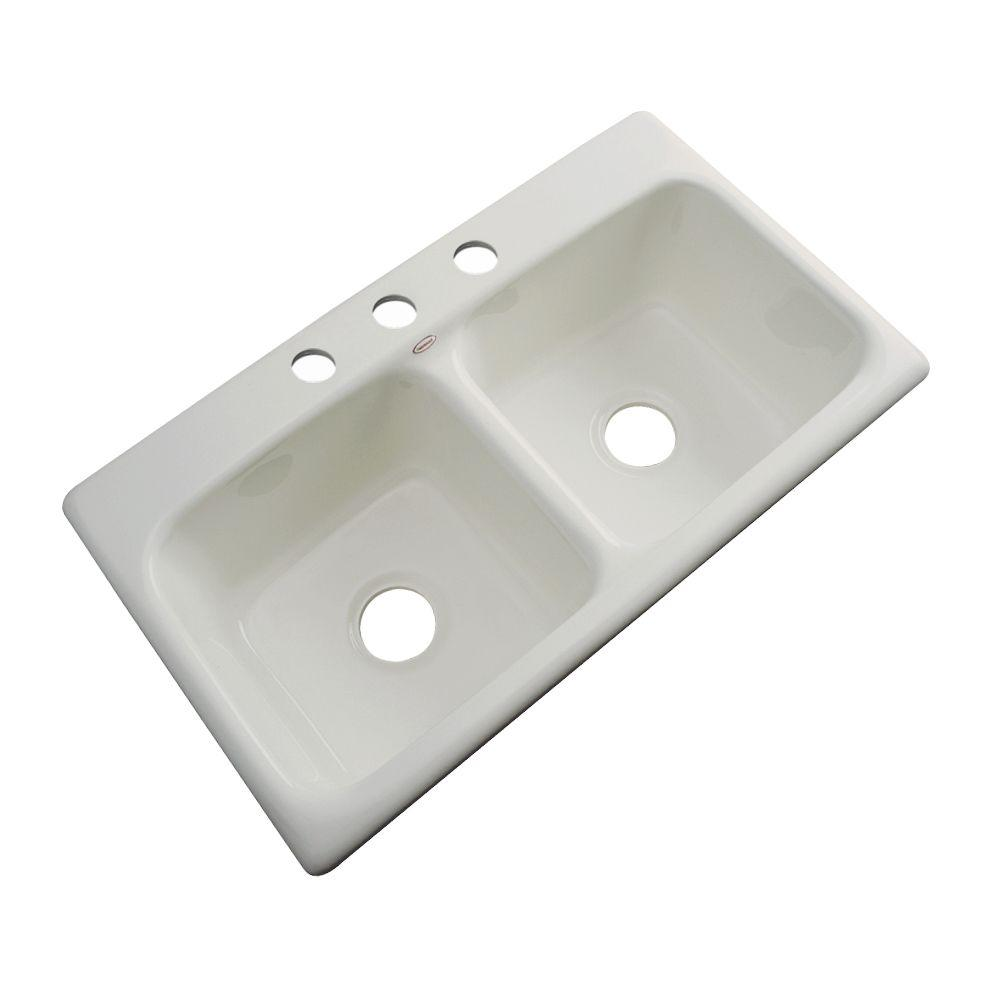 Thermocast Brighton Drop-In Acrylic 33 in. 3-Hole Double Bowl Kitchen Sink in Tender Grey