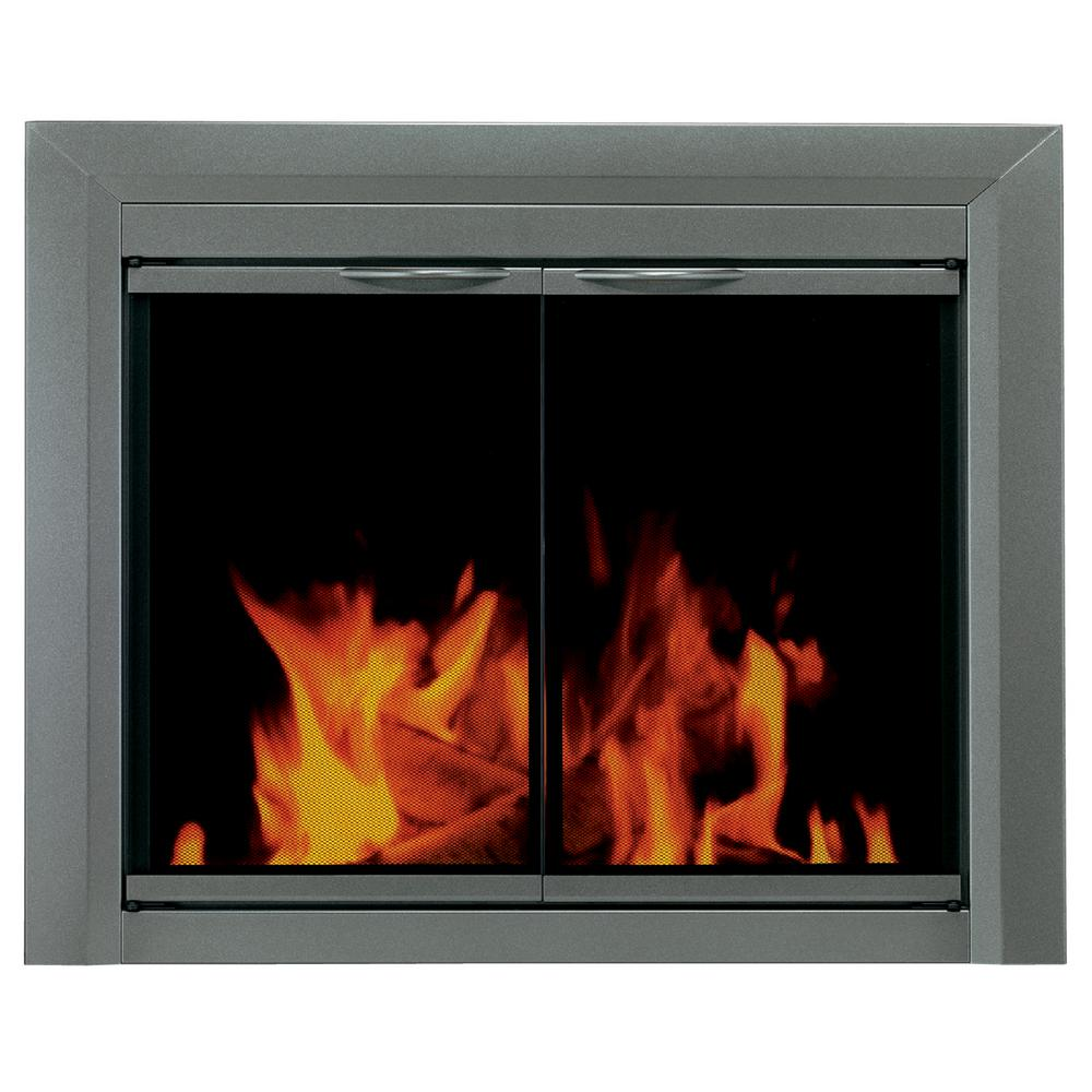 pleasant hearth craton medium glass fireplace doors cr 3401 the rh homedepot com tempered glass in fireplace fire glass in fireplace