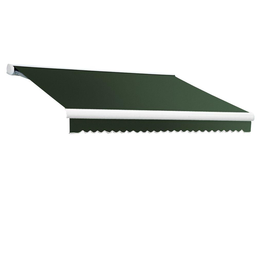 AWNTECH 18 ft. Key West Full-Cassette Left Motor Retractable Awning with Remote (120 in. Projection) in Olive/Alpine