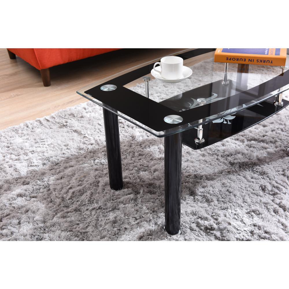 Clear//Black Hodedah Glass Rectangle Coffee Table