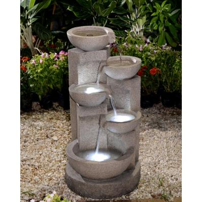 Multi-Tier Bowls Water Fountain with LED Light