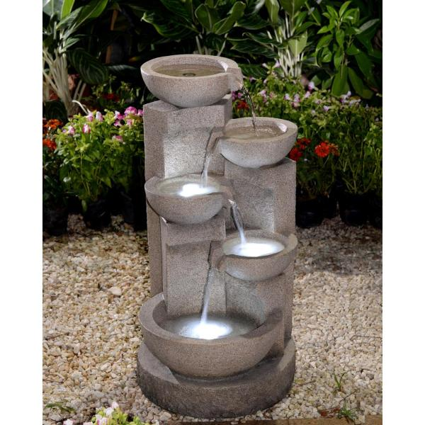 Jeco Multi Tier Bowls Water Fountain With Led Light Fcl107 The Home Depot