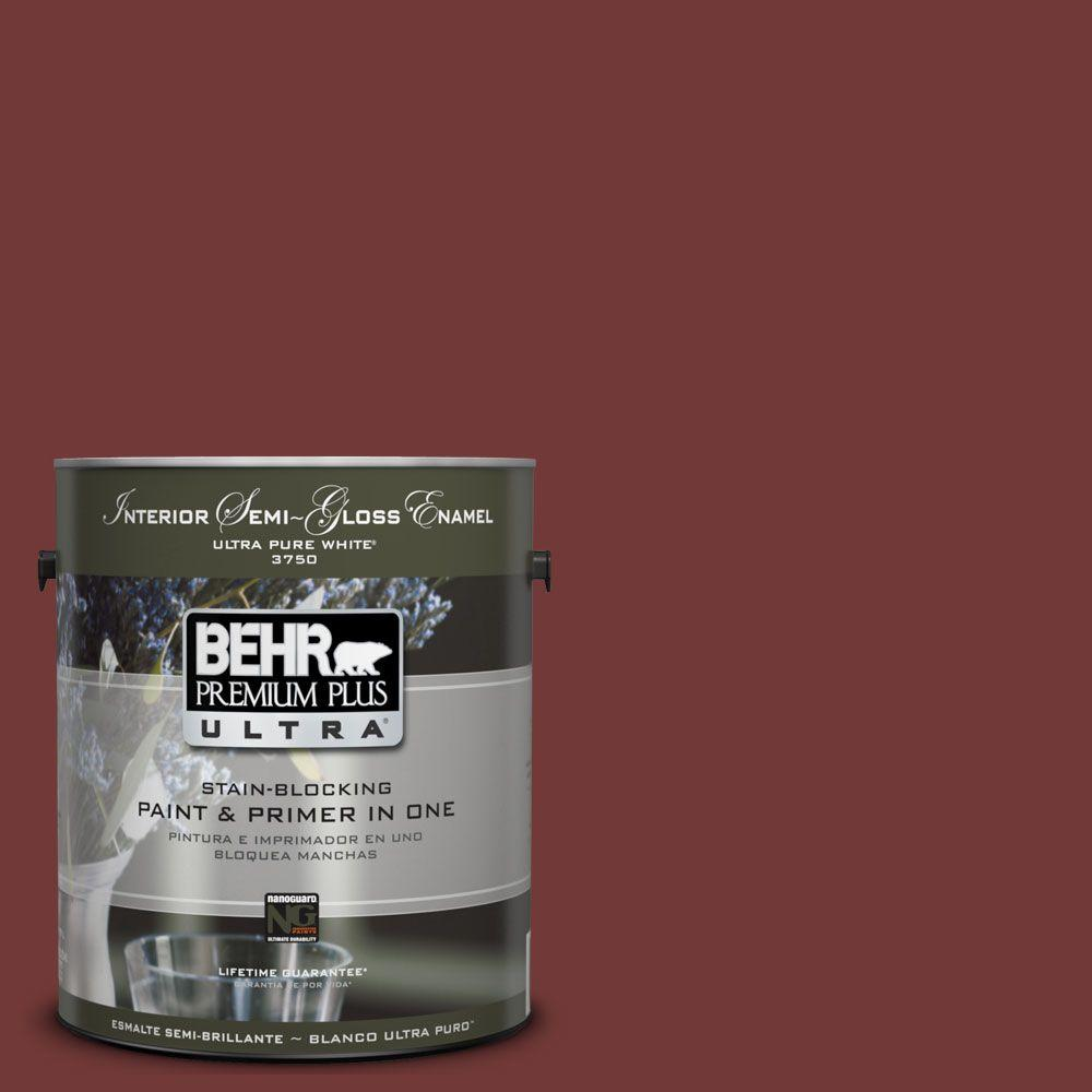 BEHR Premium Plus Ultra 1-gal. #UL110-1 Tuscan Russet Interior Semi-Gloss Enamel Paint