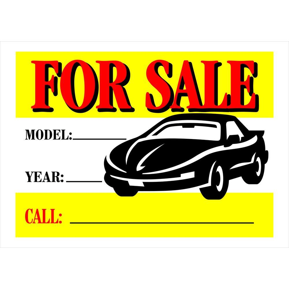 Hillman 10 In X 14 In Plastic Auto For Sale Sign 842116 The Home