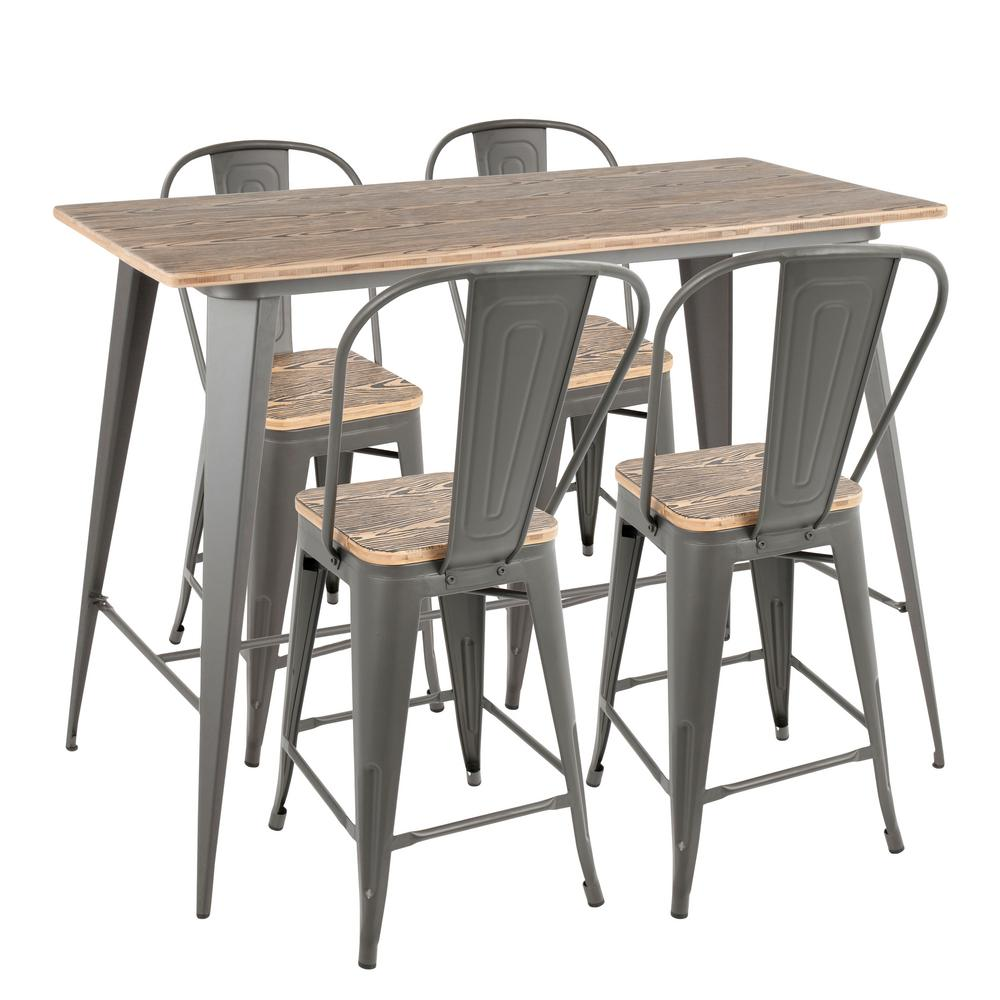 Dining Room Furniture Michigan: Lumisource Oregon High Back 5-Piece Grey And Brown Counter