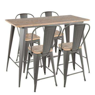Oregon High Back 5-Piece Grey and Brown Counter Height Dining Set