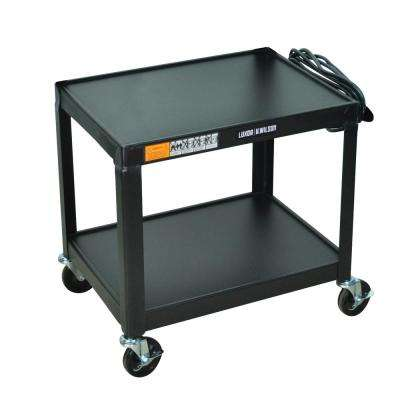 Fixed Height Steel 24 in. in. x 18 in. in. A/V Utility Cart with two shelves in black