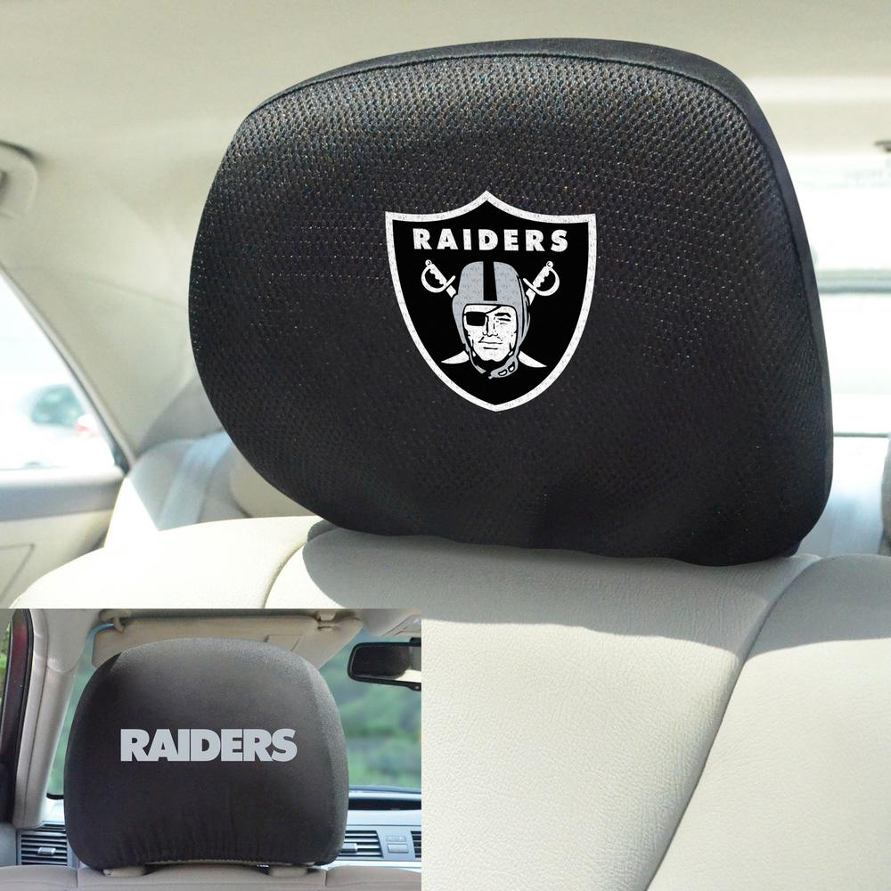cargooghi Set of 2 for Oakland Raiders Embroidered Black Gray Fabric Universal Headrest Cover Set Oakland Raiders