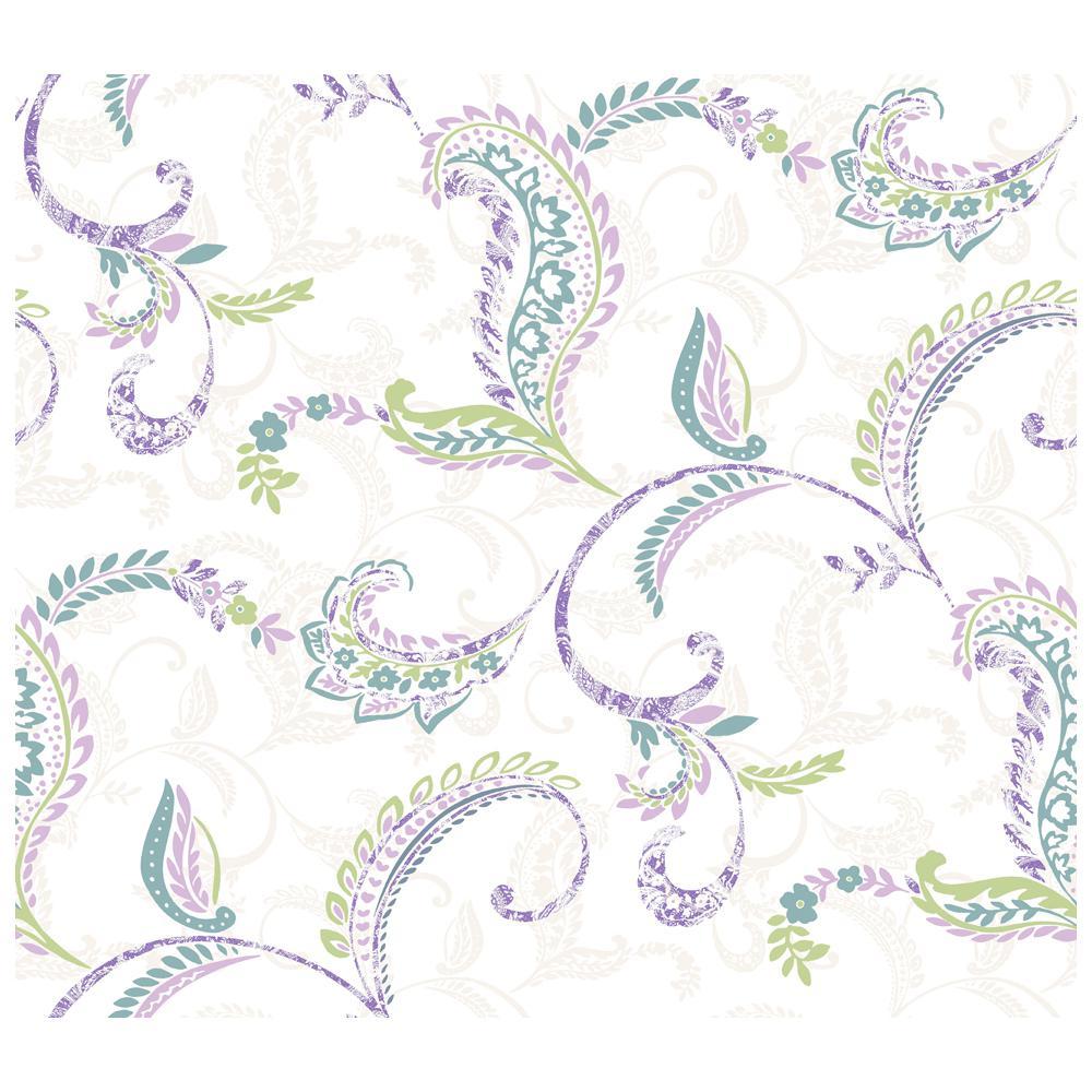 Riley Lilac Paisley Scroll Wallpaper Sample
