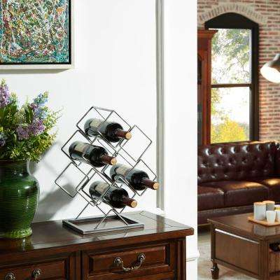 Antique Silver Electroplated 6-Bottle Wine Rack